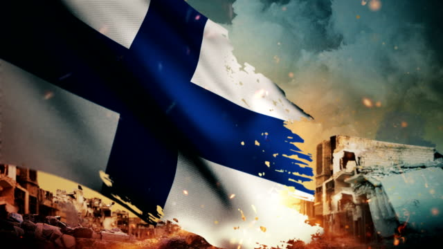 4k finland flag - crisis / war / fire (loop) - war stock videos & royalty-free footage