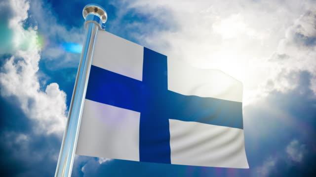 4k - finnland flagge | loopable stock video - finnland stock-videos und b-roll-filmmaterial