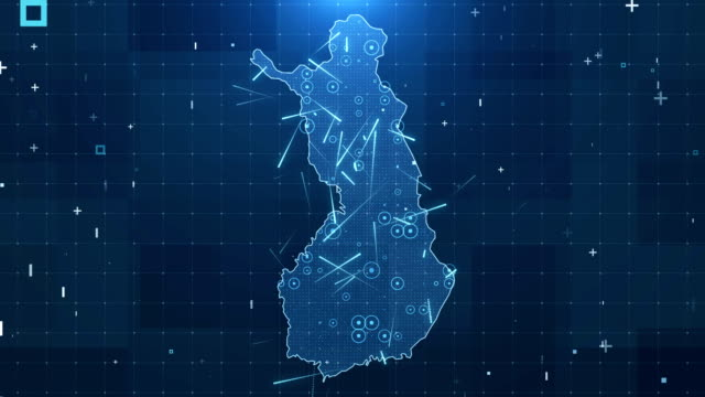 finland map connections full details background 4k - finlandia video stock e b–roll