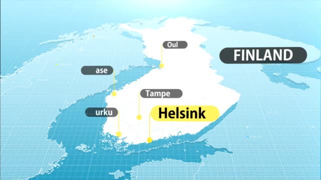 stockvideo's en b-roll-footage met kaart van finland - vlag
