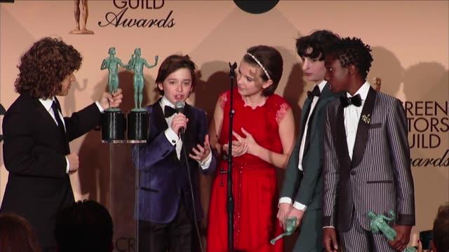 SPEECH Finn Wolfhard Gaten Matarazzo Millie Bobby Brown Noah Schapp Caleb McLaughlin at 23rd Annual Screen Actors Guild Awards Press Room in Los...