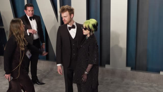 finneas o'connell and billie eilish at vanity fair oscar party at wallis annenberg center for the performing arts on february 09 2020 in beverly... - billie eilish stock videos & royalty-free footage