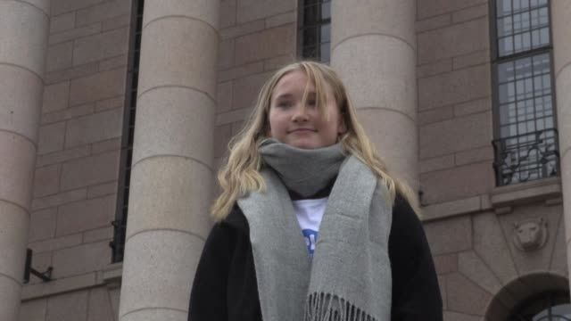 finnish 16-year-old aava murto addresses reporters outside parliament as she takes over the reins of government for a day from prime minister sanna... - zaum stock-videos und b-roll-filmmaterial