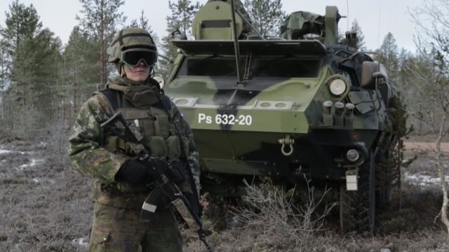 finnish and swedish soldiers with 71st motorized infantry battalion train in sweden for exercise trident juncture 18 - armoured personnel carrier stock videos & royalty-free footage