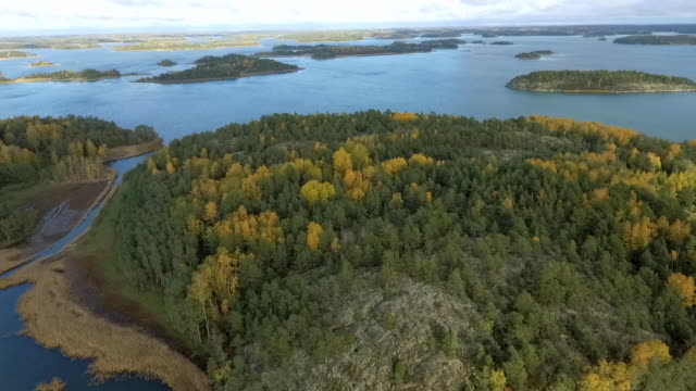 finnish baltic sea with fall colors autumn aerial view - arcipelago video stock e b–roll