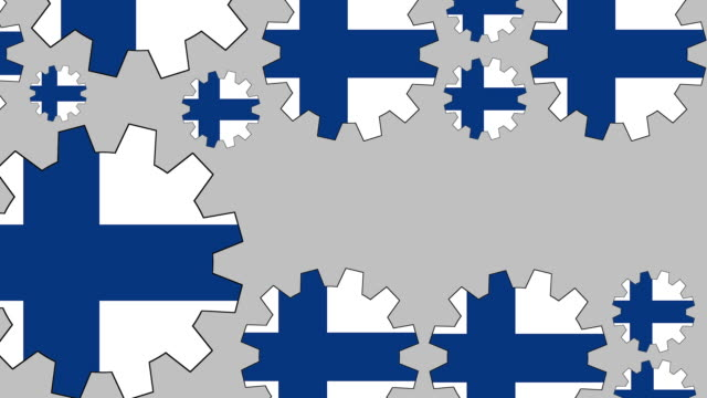finnish flag gears shaping euro symbol - group of objects stock videos & royalty-free footage