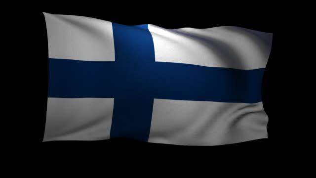 CGI Finnish flag waving against black background