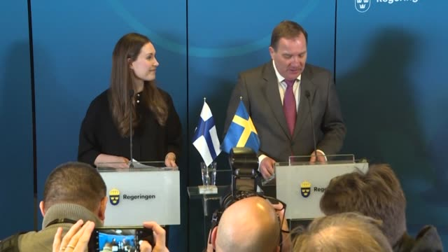 finnish prime minister sanna marin and swedish premier stefan lofven give a press conference during marin's first official visit calling for de... - marin stock videos & royalty-free footage
