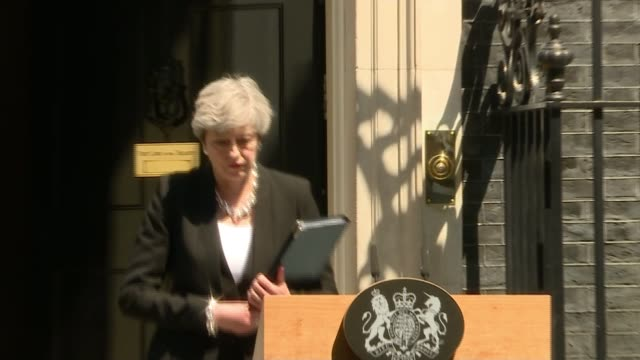 One dead as man drives rented van at Muslims outside mosque Downing Street Theresa May MP up to lectern and speech SOT Today we come together to...