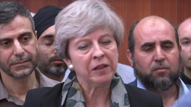 One dead as man drives rented van at Muslims outside mosque London Finsbury Park INT Theresa May MP statement SOT The terrible terrorist attack that...