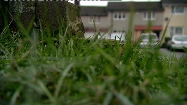 dale cregan trial hattersley low angle shot of house where shooting incident took place seen beyond grass in f/g hyde gv hyde police station - hattersley stock videos and b-roll footage
