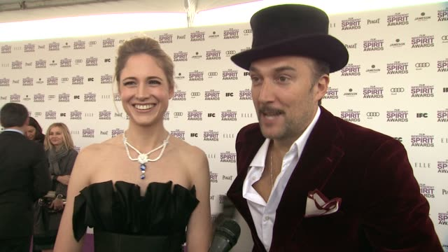 fiona hefti carlos leal on the event at piaget at the 2012 film independent spirit awards on 2/25/12 in los angeles ca - independent feature project stock videos and b-roll footage