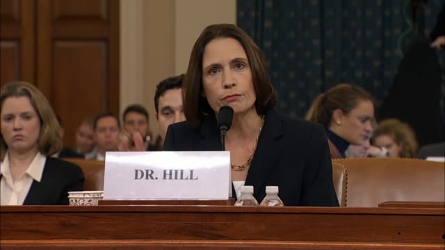 fiona hill explains it testimony at the seventh public impeachment inquiry hearing of president donald trump by the house select intelligence... - out of context stock videos & royalty-free footage