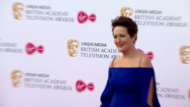fiona shaw poses for photos on red carpet at bafta tv awards 2019 at royal festival hall london - british academy television awards stock videos & royalty-free footage