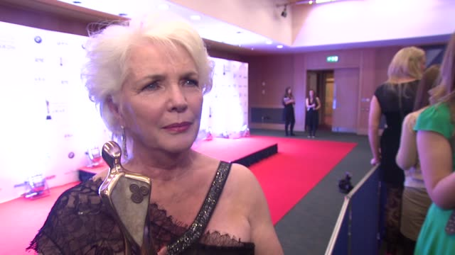 fionnula flanagan on her reception by michael d. higgins, her memories and where she'll put here award at the iftas at convention centre dublin,... - irish film and television awards stock videos & royalty-free footage
