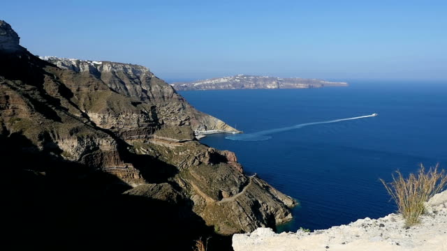 firá, santorini - seascape - santorini stock videos & royalty-free footage