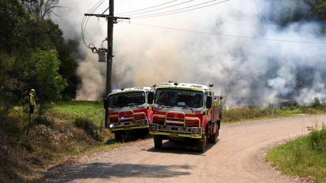 fire and rescue crews light controlled back burns on november 21, 2019 in st albans, australia. most of nsw remains under severe or very high fire... - firefighter stock videos & royalty-free footage