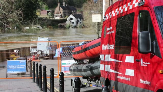 fire and rescue service equipment in ironbridge, shropshire, where the river severn was in severe flood conditions after the wettest february on... - ironbridge shropshire stock videos & royalty-free footage