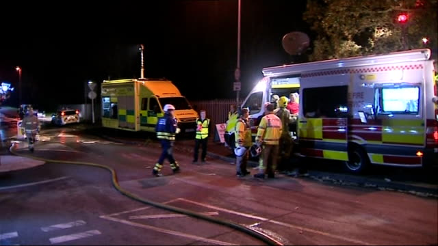 gvs england staffordshire stafford police and fire crews on road with vehicles - stafford england stock videos and b-roll footage
