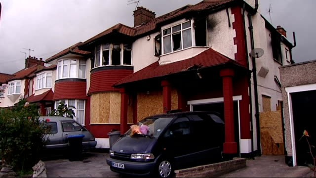 fire brigade say modern fridges and freezers are the most dangerous appliances in homes; t26091142 / tx north london: neasden: fire-damaged house... - bay window stock videos & royalty-free footage