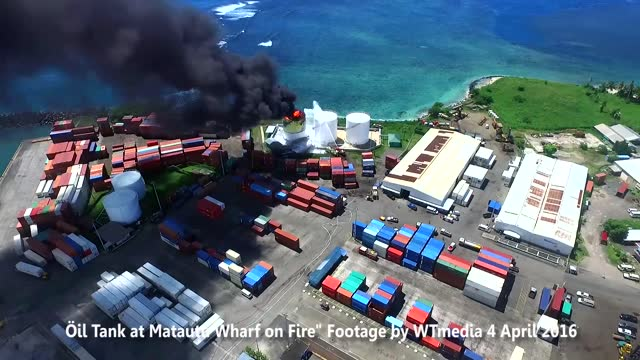 fire broke out after a large explosion at a fuel storage tank at matautu wharf in apia, samoa, on monday, april 4, the new zealand herald... - samoa stock videos & royalty-free footage