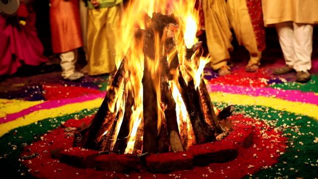 Fire burning at lohri festival, Punjab, India