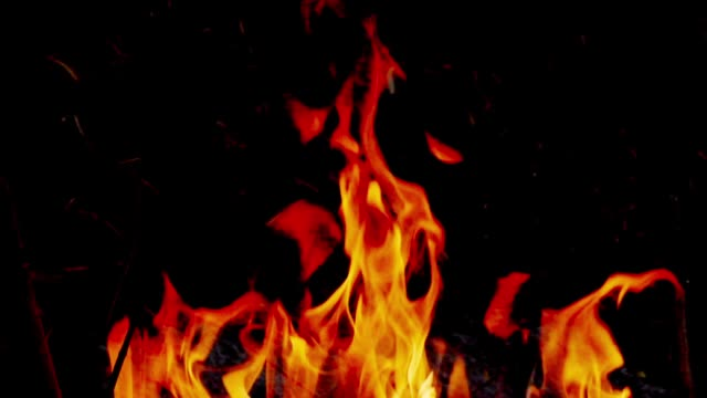 slo mo fire, burning flame. - fire natural phenomenon video stock e b–roll