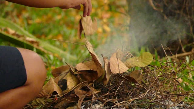 fire burning grass and dry leaves in garden - heap stock videos & royalty-free footage