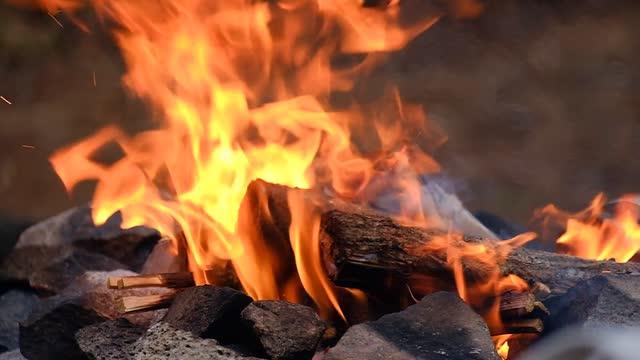 stockvideo's en b-roll-footage met fire burning in an outdoor fireplace - koken eten koken