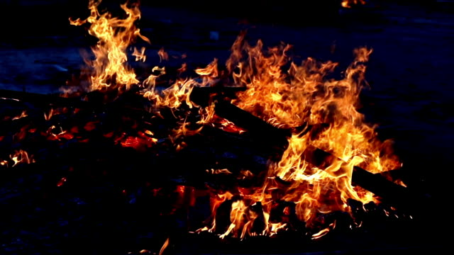 Fire burning in slow motion