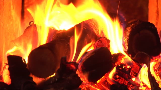fire burning in the chimney (loopable, hd, sound included) - anthracite coal stock videos & royalty-free footage