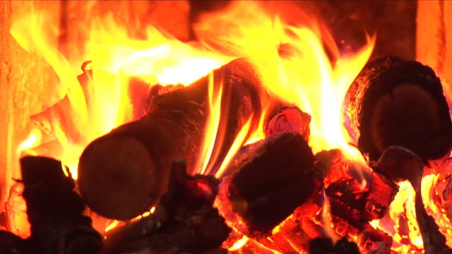 fire burning in the chimney (close-up, hd, sound included) - anthracite coal stock videos & royalty-free footage