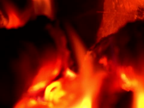 fire burning in the chimney (loopable, close-up,  sound included, pal) - anthracite coal stock videos & royalty-free footage