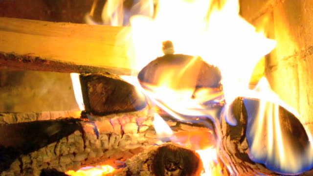 fire burning in the fireplace. - hearth oven stock videos & royalty-free footage