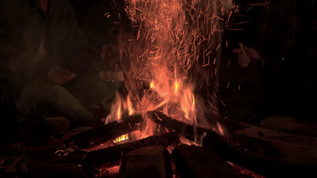 fire camping for happiness on holiday.tradition flaming  outdoor for campfire - holiday camp stock videos & royalty-free footage
