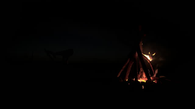 fire camping for happiness on holiday.tradition flaming  outdoor for campfire at night. - holiday camp stock videos & royalty-free footage
