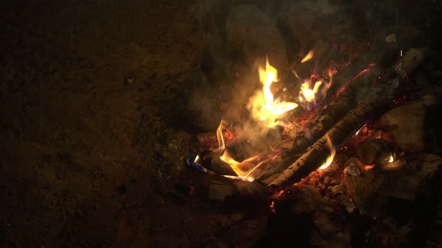 fire camping for happiness on holiday.tradition flaming - holiday camp stock videos & royalty-free footage