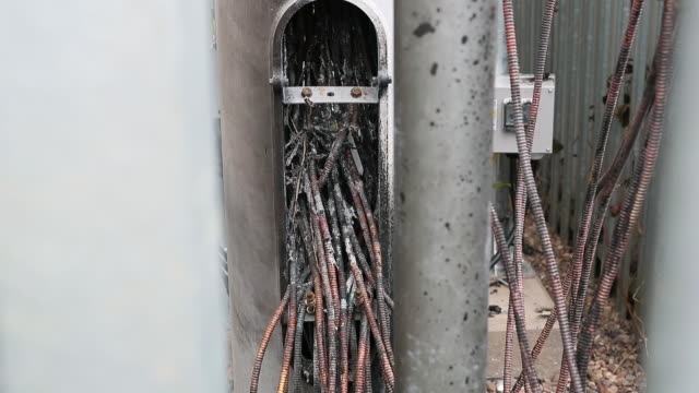 fire damaged ee 5g phone mast which was torched after a fake coronavirus conspiracy in birmingham, uk on monday, april 6, 2020. - conspiracy stock videos & royalty-free footage