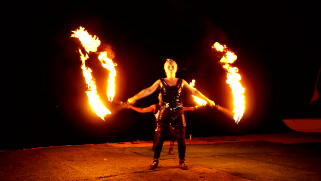 fire dancer, fire performer. - circus stock videos and b-roll footage