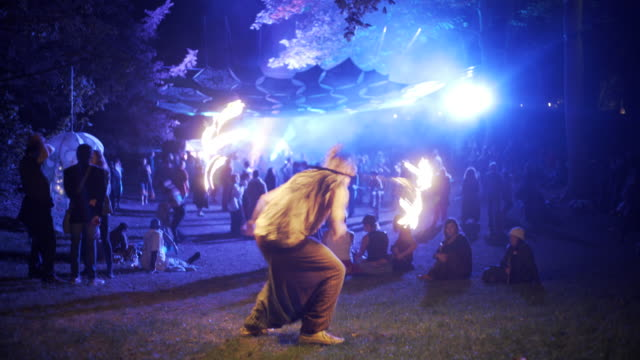 fire dancer in the woods - performing arts event stock videos & royalty-free footage