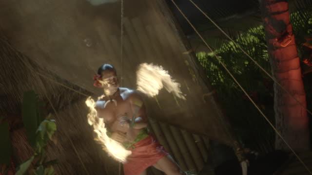 fire dancers perform at a hawaiian luau. - hawaiian culture stock videos & royalty-free footage