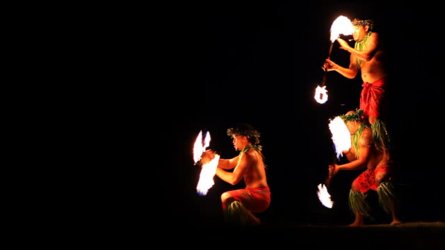 fire dancers - hawaii islands stock videos and b-roll footage