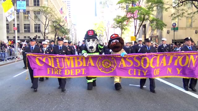 fire department of new york city columbia association march during the columbus day parade on 5th avenue midtown manhattan new york city usa - fire department of the city of new york stock videos and b-roll footage