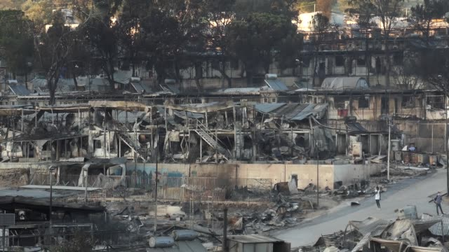 fire destroyed greece's largest moria refugee camp on the island of lesbos. greek authorities on september 10 were racing to shelter thousands of... - destruction stock videos & royalty-free footage