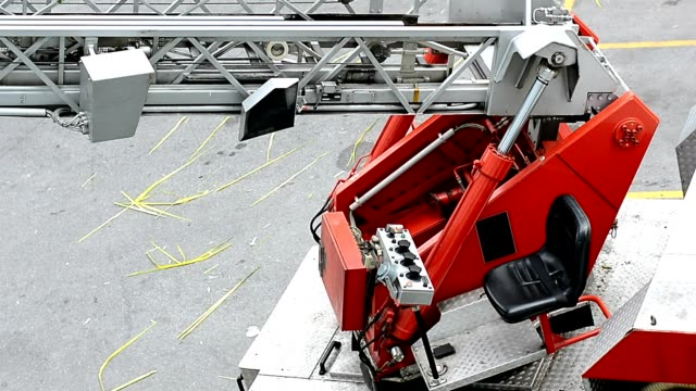 fire engine crane - tubo video stock e b–roll