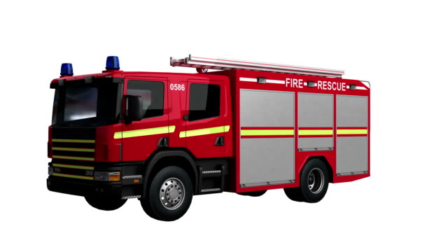 fire engine eu spin isolated with luma matte - fire station stock videos & royalty-free footage
