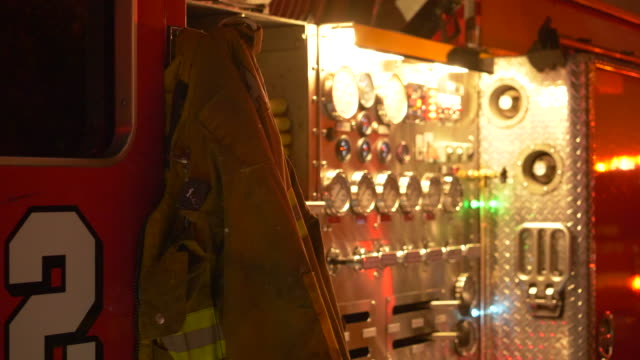fire engine truck gauges at night in a neighborhood. - control panel stock videos & royalty-free footage