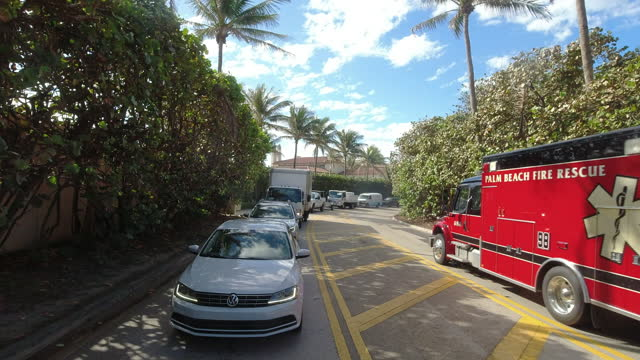 fire engine trucks outside of the mar-a-lago club - mar stock videos & royalty-free footage