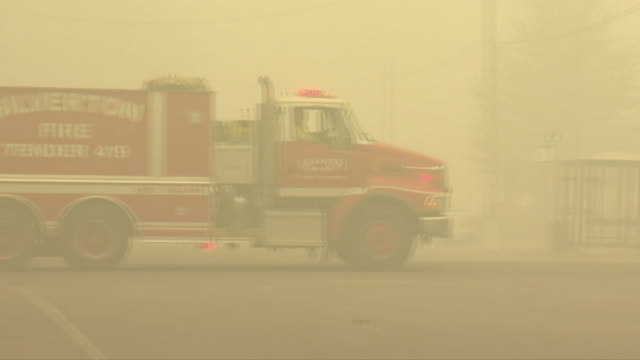 fire engines and emergency vehicles in town in oregon destroyed by wildfire - fire engine stock videos & royalty-free footage