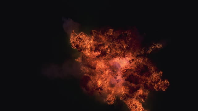 MS Fire explosion against black background